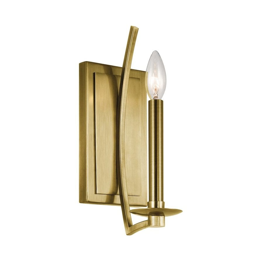 Candle Wall Sconces Lowes : Shop Kichler Grayson 4.5-in W 1-Light Natural Brass Candle Wall Sconce at Lowes.com