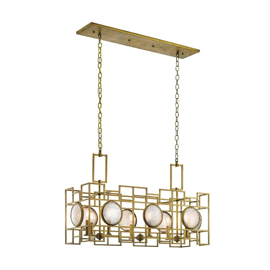 Kichler Lighting Vance 13.25-in W 8-Light Natural Brass Kitchen Island Light with Textured Shade