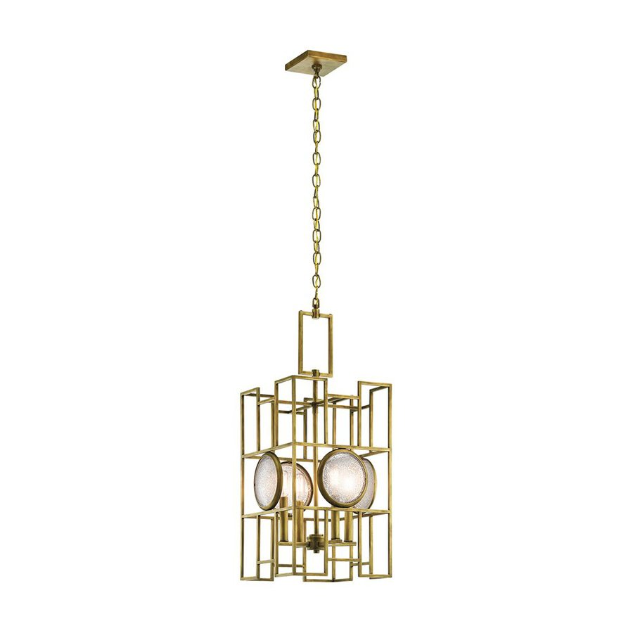 Kichler Vance 13-in Natural Brass Hardwired Single Geometric Pendant