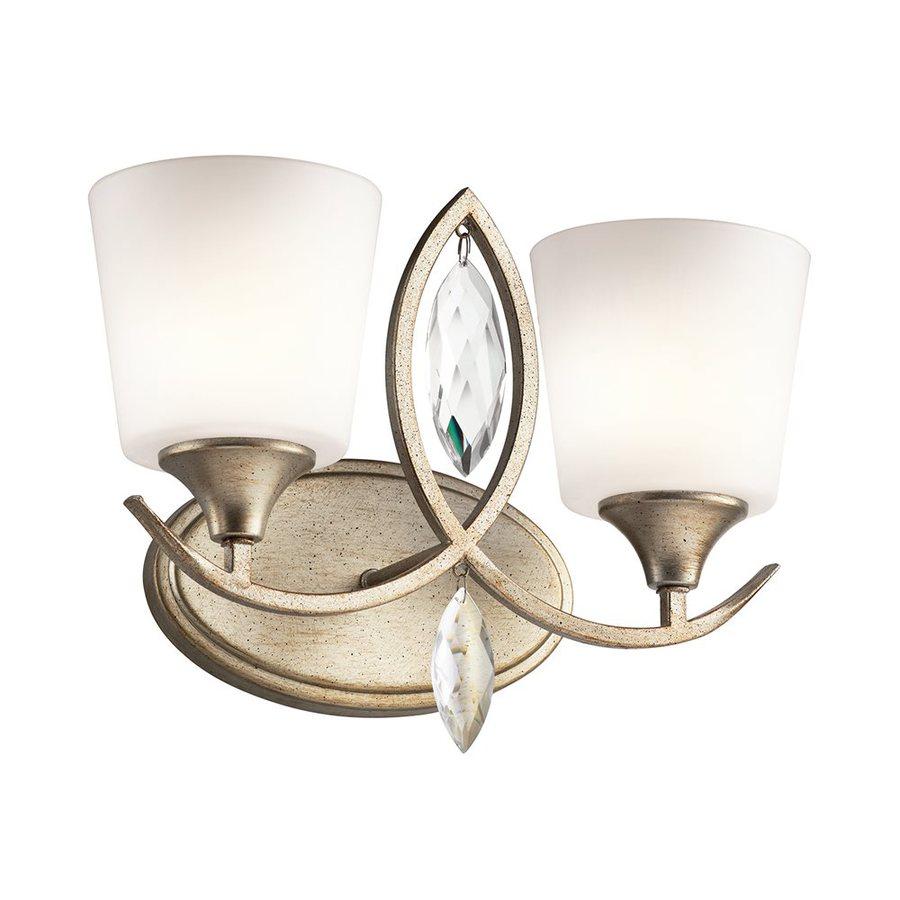 Kichler Casilda 2-Light 11-in Sterling Gold Cylinder Vanity Light