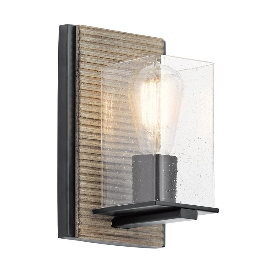 Kichler Millwright 5.5-in W 1-Light Distressed Antique Gray Pocket Wall Sconce
