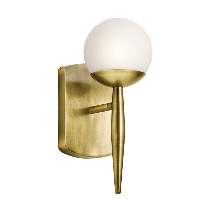 Wall Lights In Brass : Shop Kichler Jasper 4.5-in W 1-Light Natural Brass Arm Wall Sconce at Lowes.com