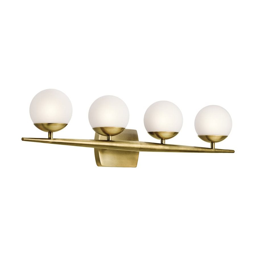Kichler Lighting Jasper 4-Light 7.5-in Natural Brass Orb Vanity Light