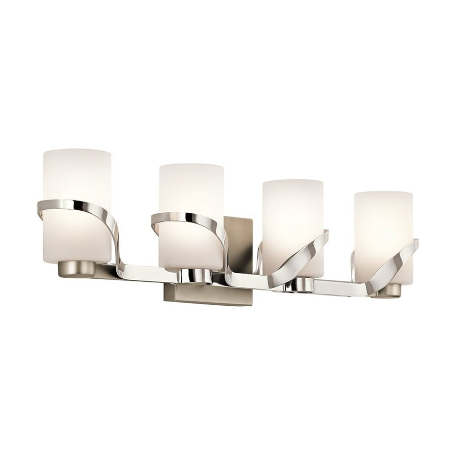 Bathroom Vanity Lights Polished Nickel shop kichler stelata 4-light 7-in polished nickel cylinder vanity