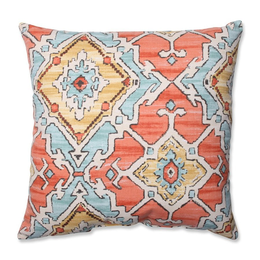 Pillow Perfect 18-in W x 18-in L Sundance Tangerine Indoor Decorative Pillow