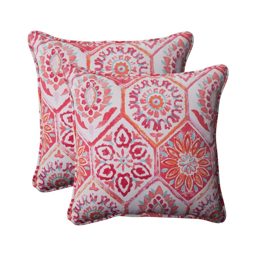Pillow Perfect Summer Breeze 2-Pack Flame Floral Square Throw Outdoor Decorative Pillow