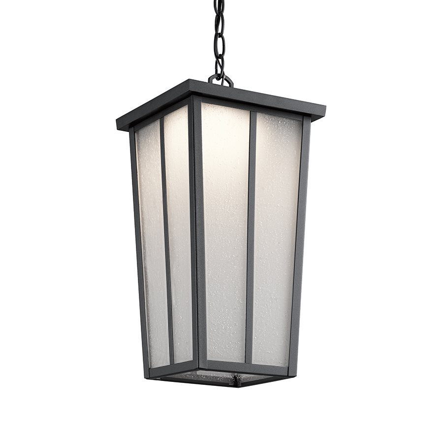 Shop Kichler Amber Valley Textured Black Outdoor Pendant Light At Lo
