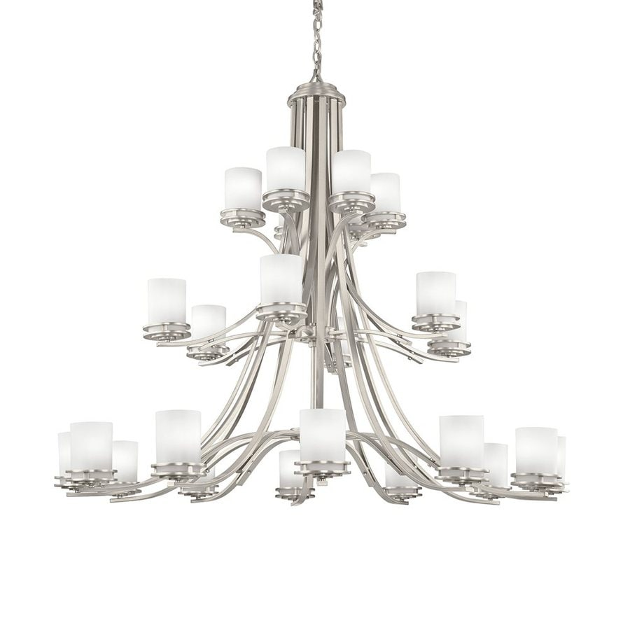 Kichler Lighting Hendrik 55-in 24-Light Brushed Nickel Etched Glass Tiered Chandelier