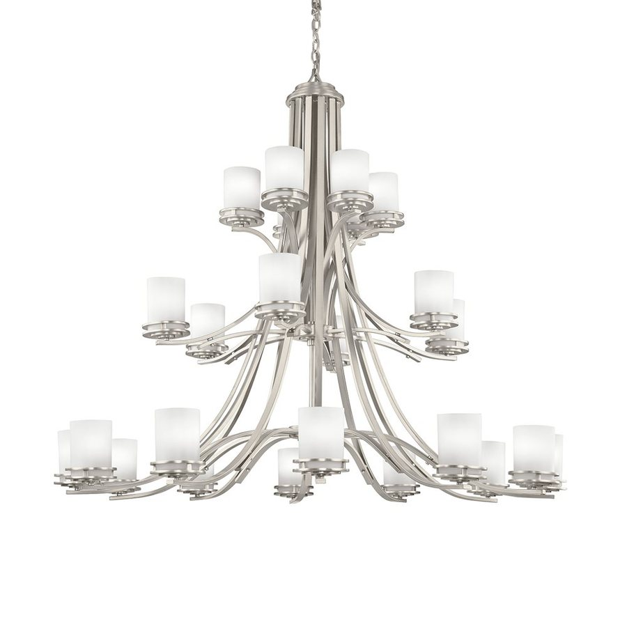 Kichler Hendrik 55-in 24-Light Brushed Nickel Etched Glass Tiered Chandelier