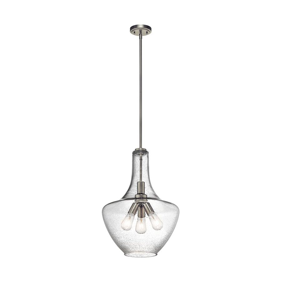 Kichler Lighting Everly 16-in Brushed Nickel Industrial Hardwired Single Seeded Glass Teardrop Pendant