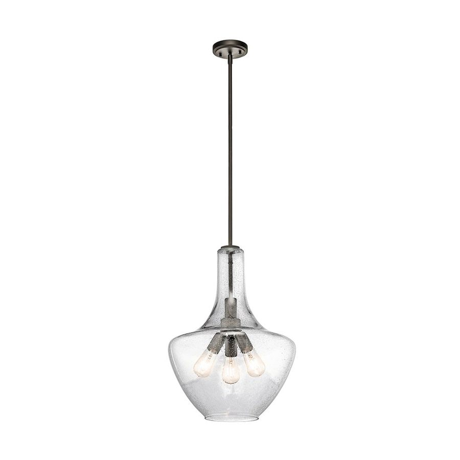 Kichler Everly 16-in Olde Bronze Industrial Hardwired Single Seeded Glass Teardrop Pendant