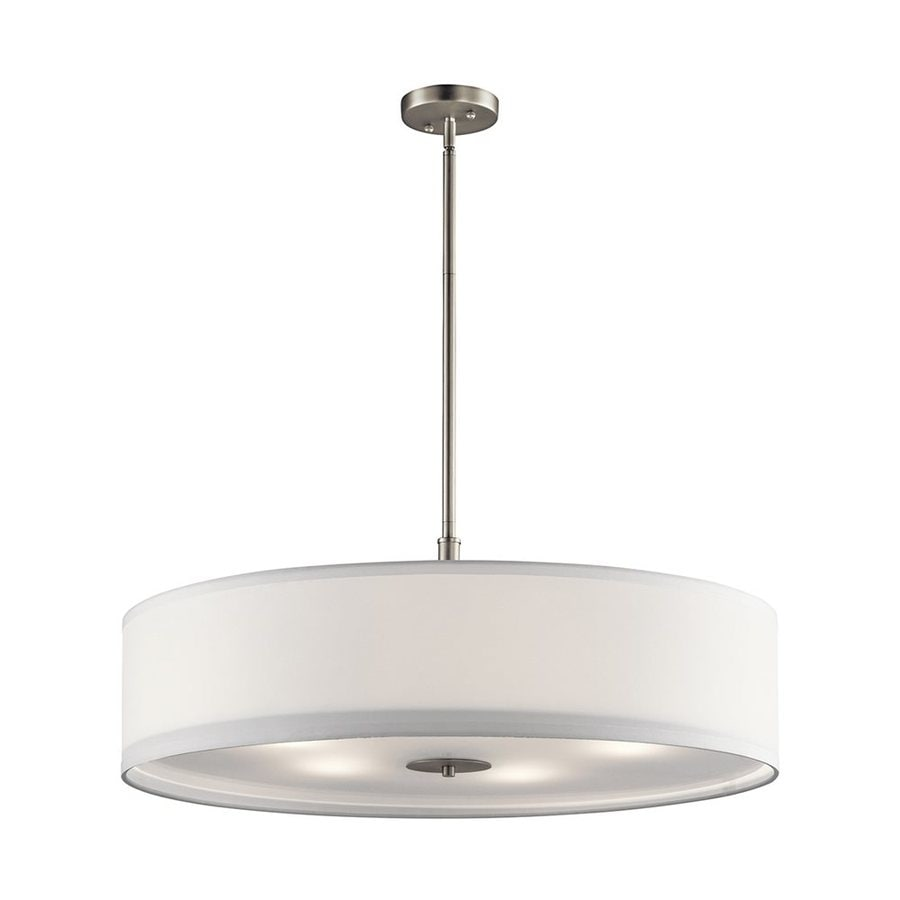 Kichler 30-in Brushed Nickel Hardwired Single Etched Glass Drum Pendant