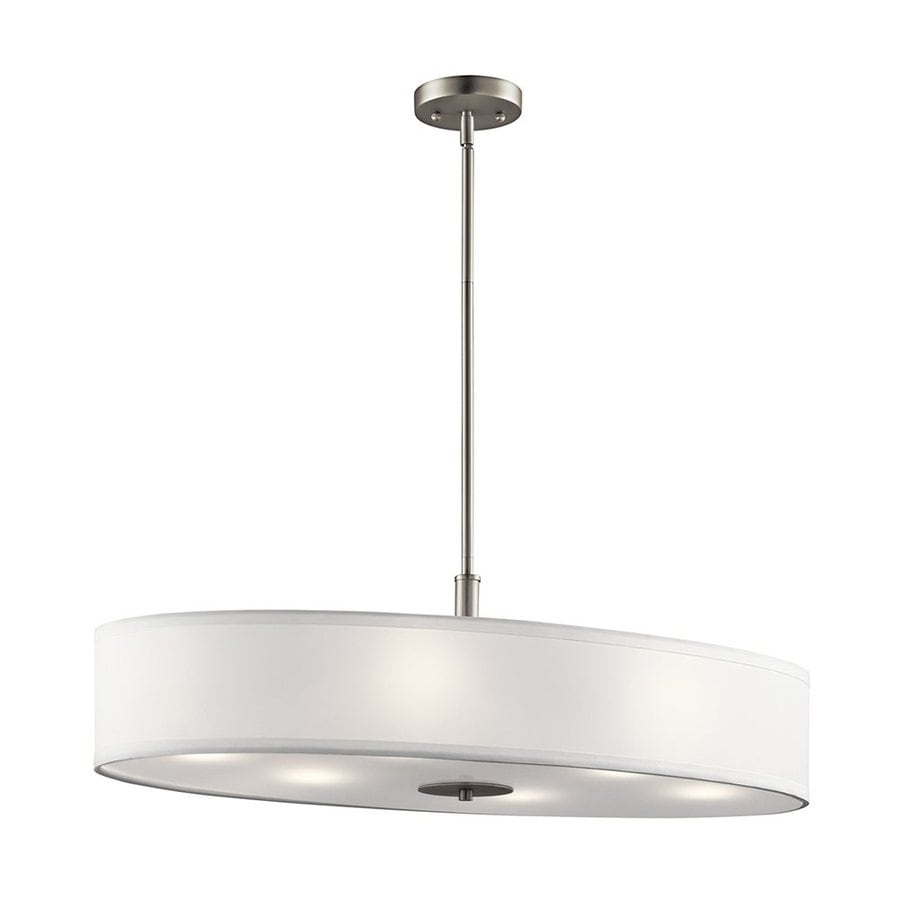 Kichler 16-in W 6-Light Brushed Nickel Kitchen Island Light with Fabric Shade