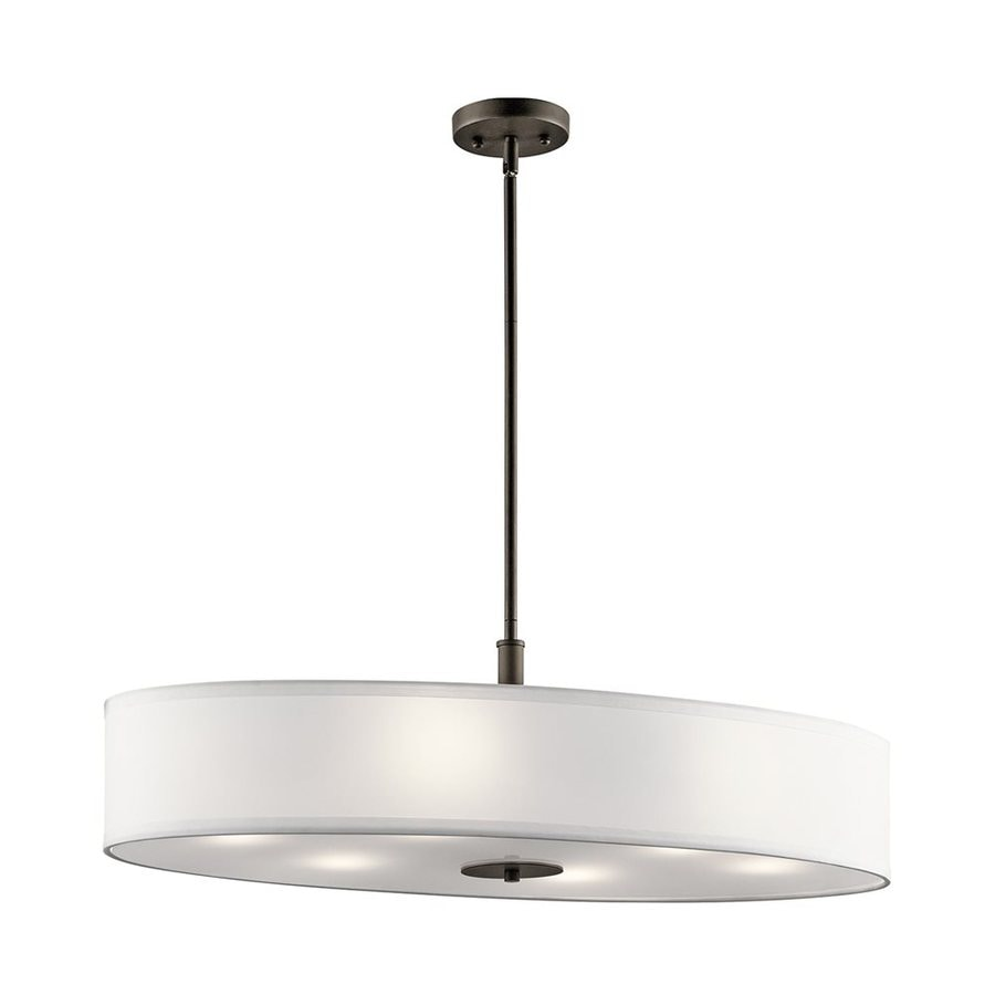 Lowes Kitchen Wall Lights : Shop Kichler 16-in W 6-Light Olde Bronze Kitchen Island Light with Fabric Shade at Lowes.com