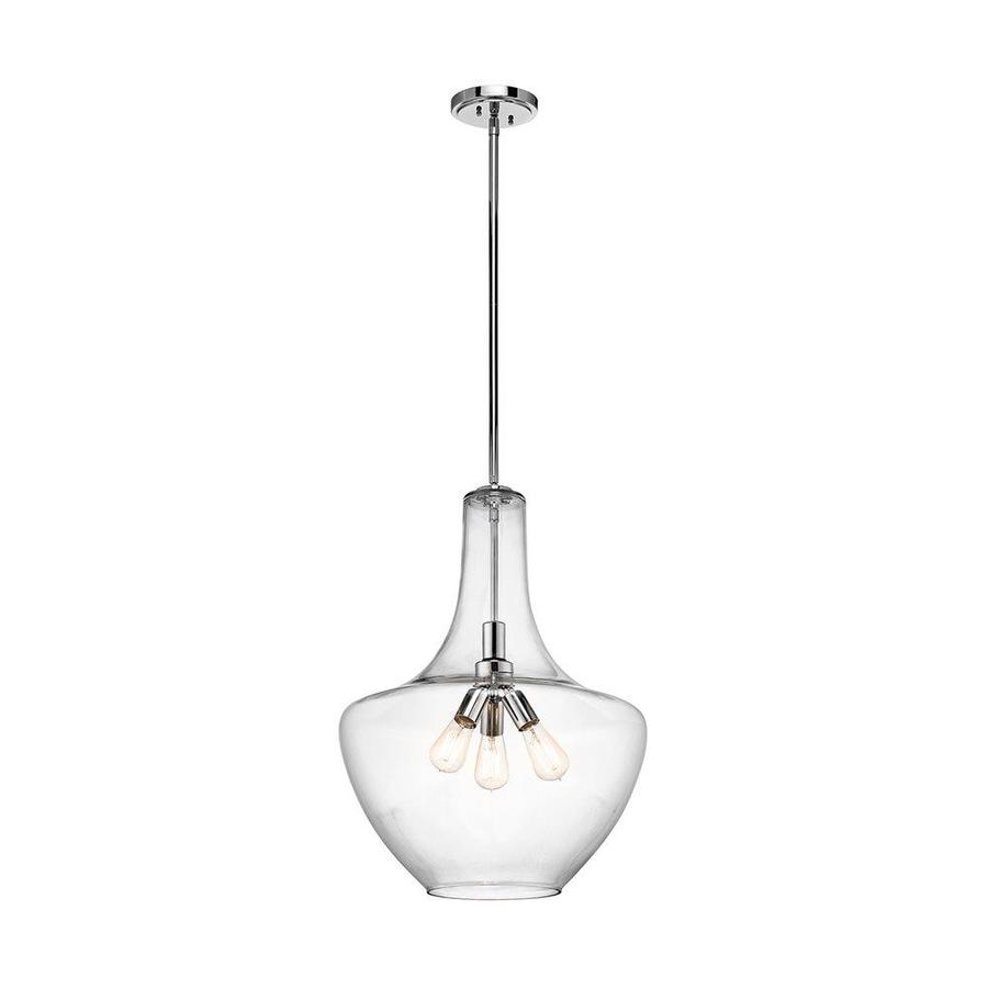 Kichler Lighting Everly 20-in Chrome Hardwired Single Clear Glass Teardrop Pendant