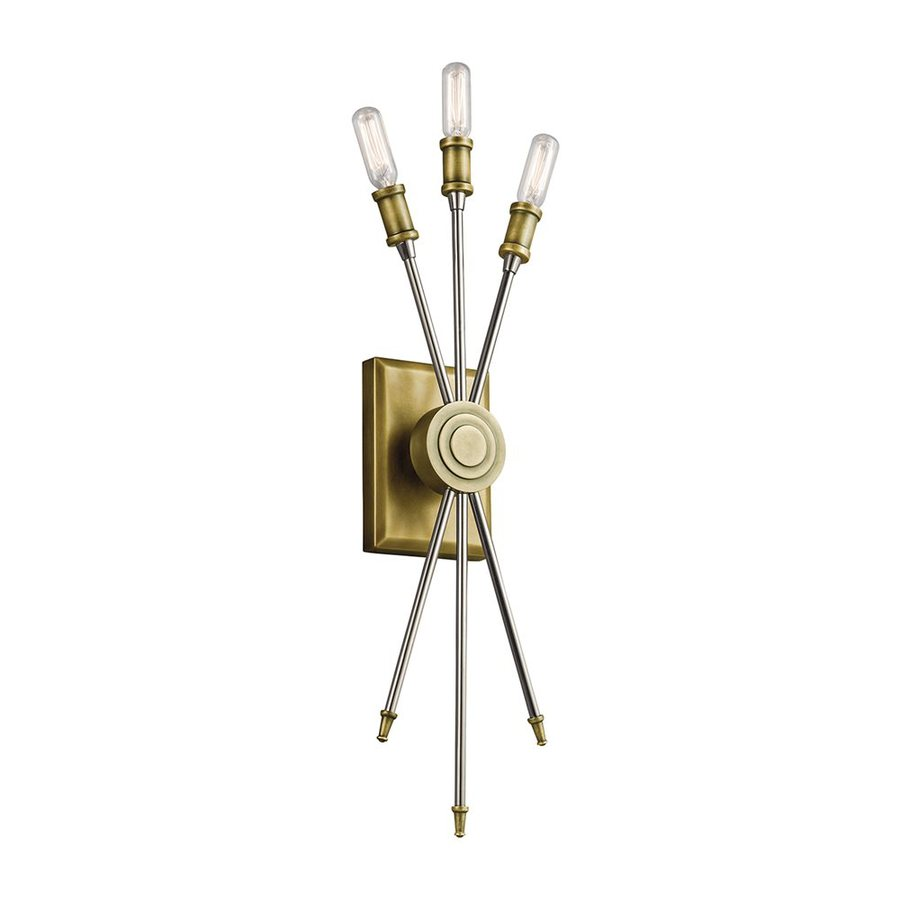 Candle Wall Sconces Lowes : Shop Kichler Doncaster 6.25-in W 3-Light Natural Brass Candle Wall Sconce at Lowes.com