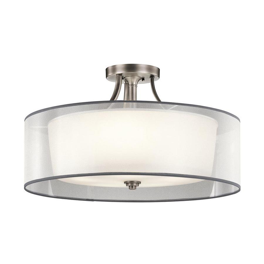 Kichler Lacey 28-in W Antique Pewter Etched Glass Semi-Flush Mount Light