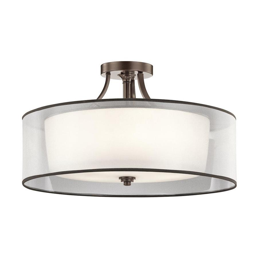 Kichler Lighting Lacey 28-in W Mission Bronze Etched Glass Semi-Flush Mount Light