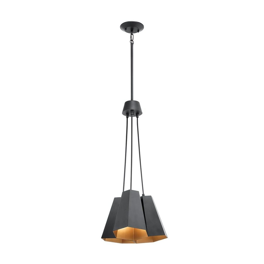 Kichler Aidan 14-in Black Industrial Hardwired Multi-Light Cone Pendant