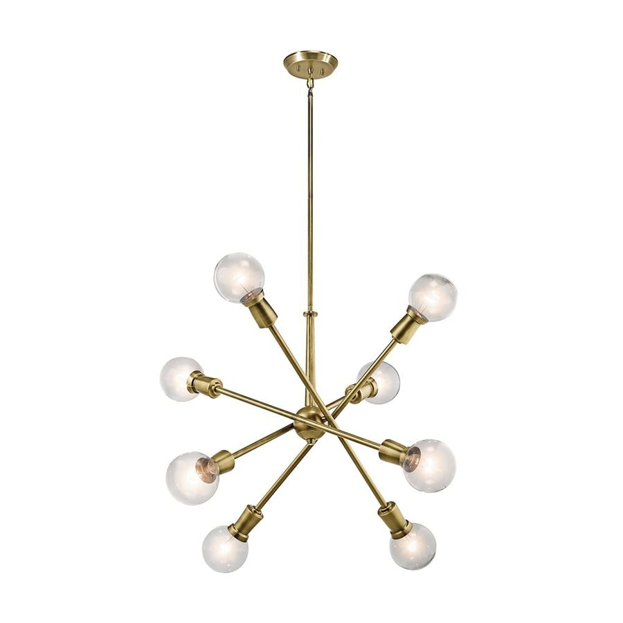 Kichler Lighting Armstrong 30-in 8-Light Natural Brass Industrial Abstract Chandelier