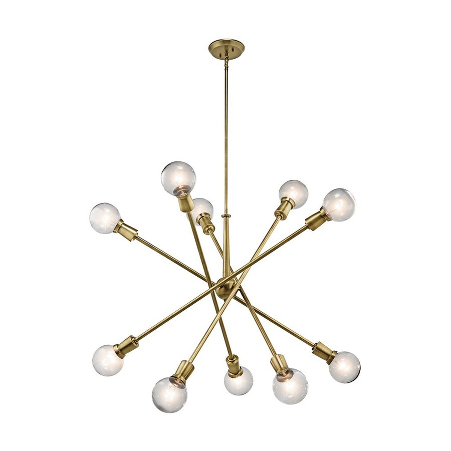 Kichler Armstrong 39-in 10-Light Natural Brass Industrial Abstract Chandelier