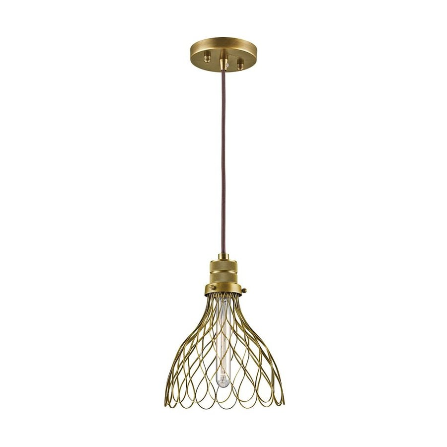 Kichler Devin 8-in Natural Brass Industrial Mini Cage Pendant