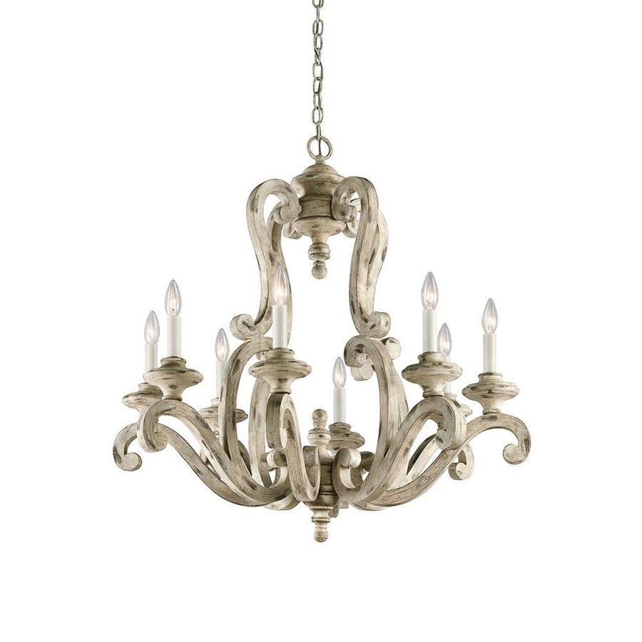 Kichler Hayman Bay 32-in 8-Light Distressed Antique White Mediterranean Candle Chandelier