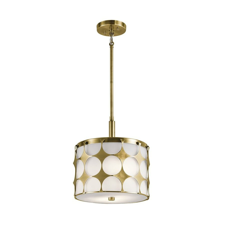 Kichler Charles 12-in Natural Brass Hardwired Single Drum Pendant