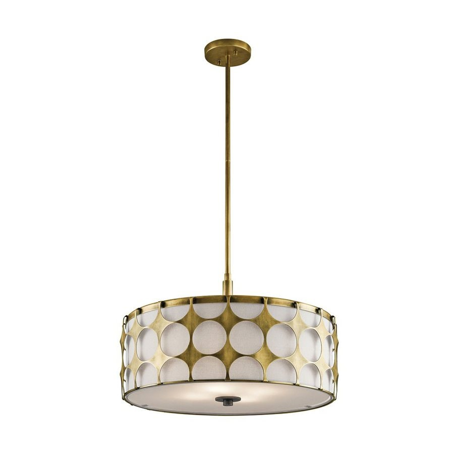 Kichler Charles 20.5-in Natural Brass Hardwired Single Drum Pendant
