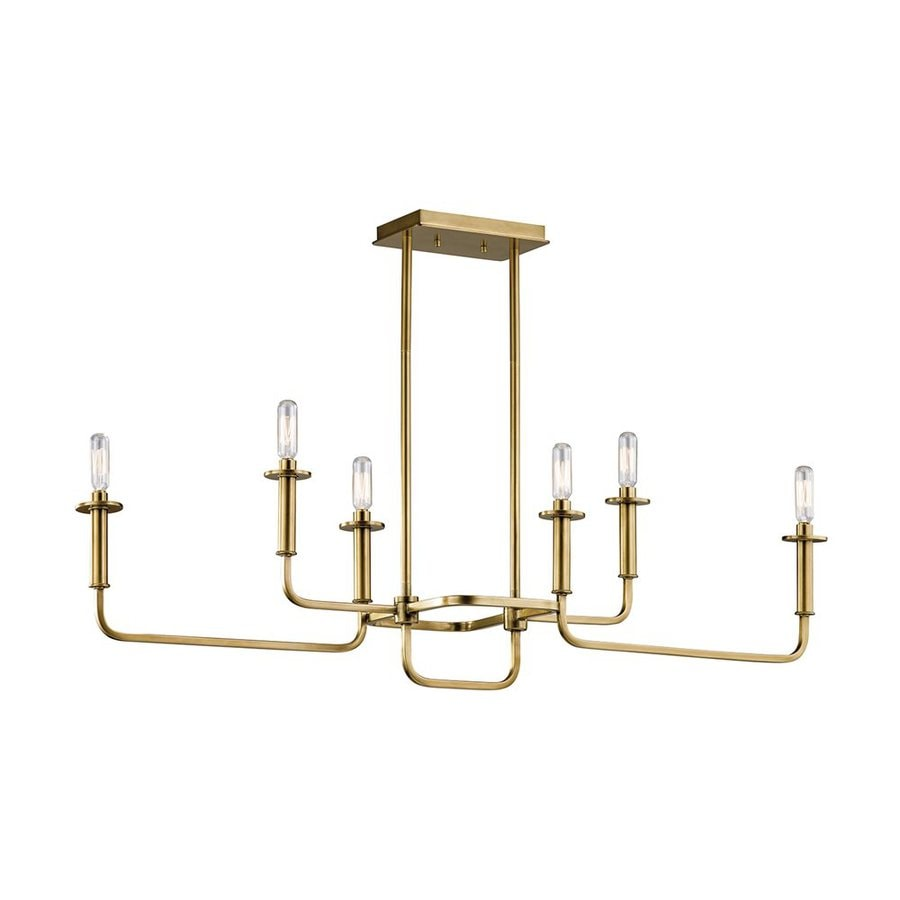 Kichler Alden 11-in 6-Light Natural Brass Industrial Hardwired Linear Chandelier