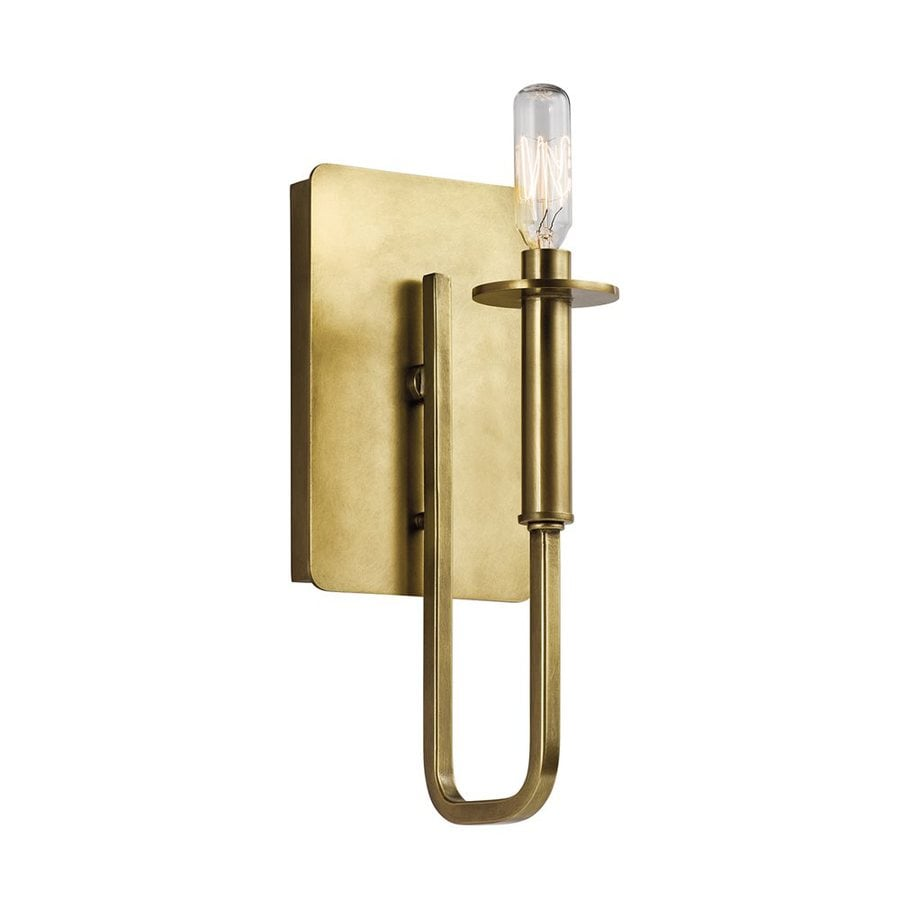 Kichler Bathroom Wall Sconces : Shop Kichler Alden 5-in W 1-Light Natural Brass Candle Wall Sconce at Lowes.com