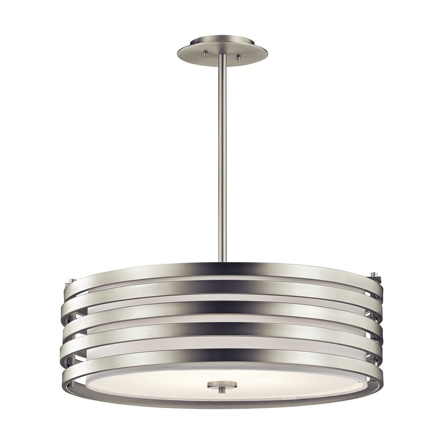 Kichler Roswell 24-in Brushed Nickel Industrial Hardwired Single Etched Glass Drum Pendant