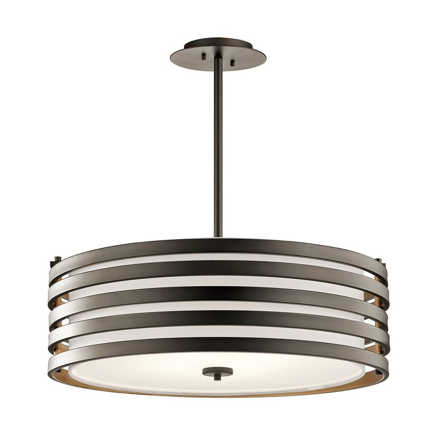 Kichler Roswell 24-in Olde Bronze Industrial Hardwired Single Etched Glass Drum Pendant