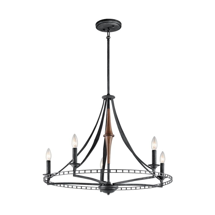 Kichler Lighting Clague 26.5-in 5-Light Distressed Black Wrought Iron Candle Chandelier