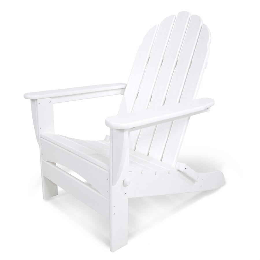 Shop Polywood Classic White Plastic Folding Patio Adirondack Chair At