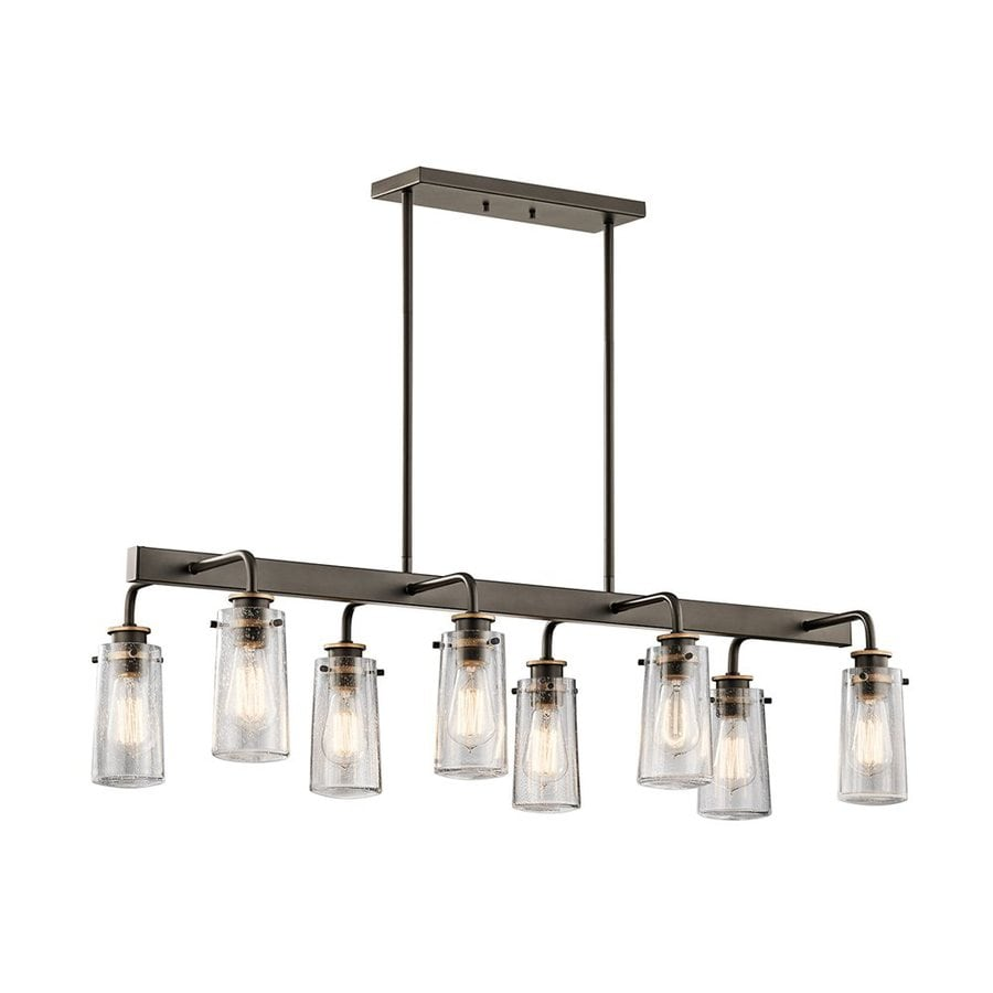 Kichler Braelyn 15-in W 8-Light Olde Bronze Vintage Kitchen Island Light with Clear Shade