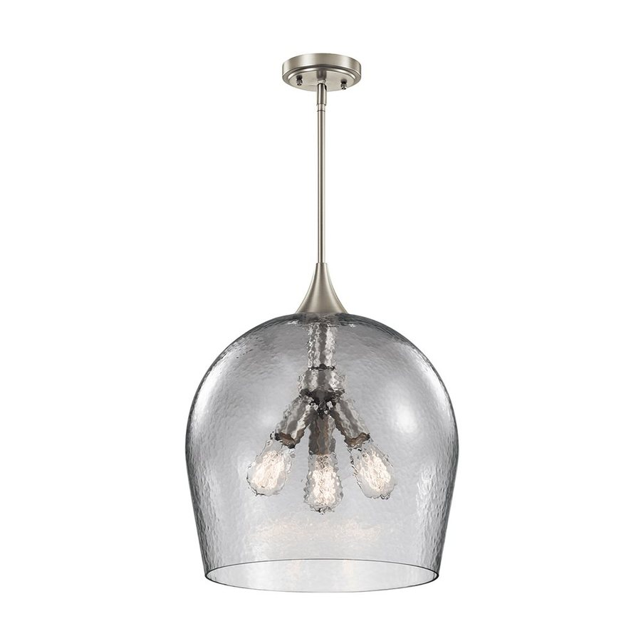 Kichler Sloane 16-in Brushed Nickel Industrial Hardwired Single Textured Glass Dome Pendant