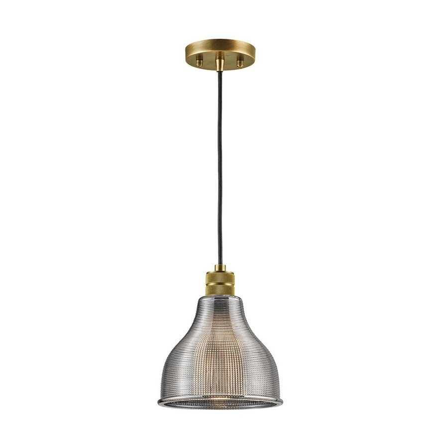 Kichler Lighting Devin 8-in Natural Brass Vintage Hardwired Mini Textured Glass Warehouse Pendant
