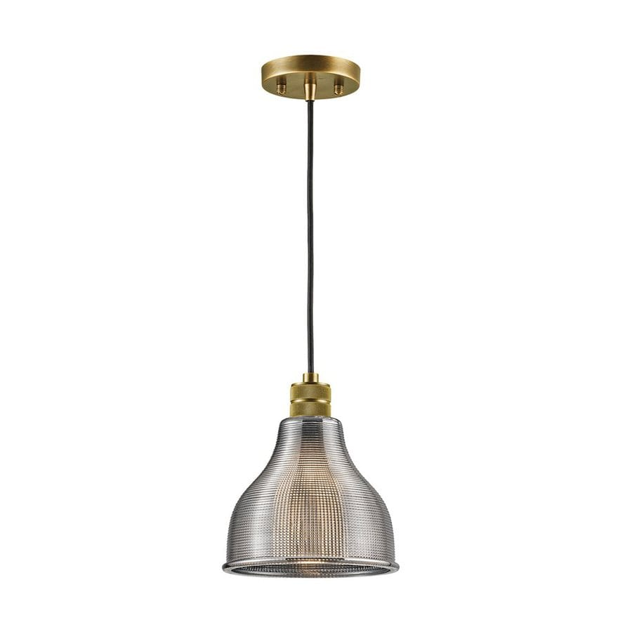 Kichler Devin 8-in Natural Brass Vintage Hardwired Mini Textured Glass Warehouse Pendant