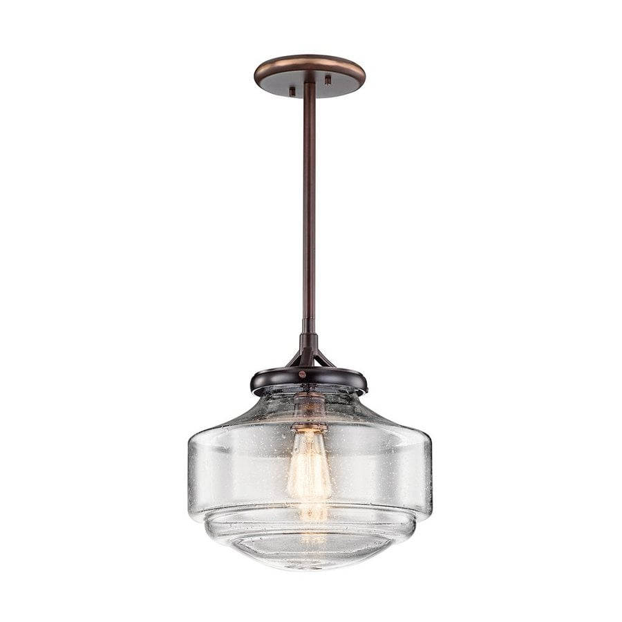 Kichler Lighting Keller 12-in Shadow Brass Vintage Hardwired Single Seeded Glass Schoolhouse Pendant