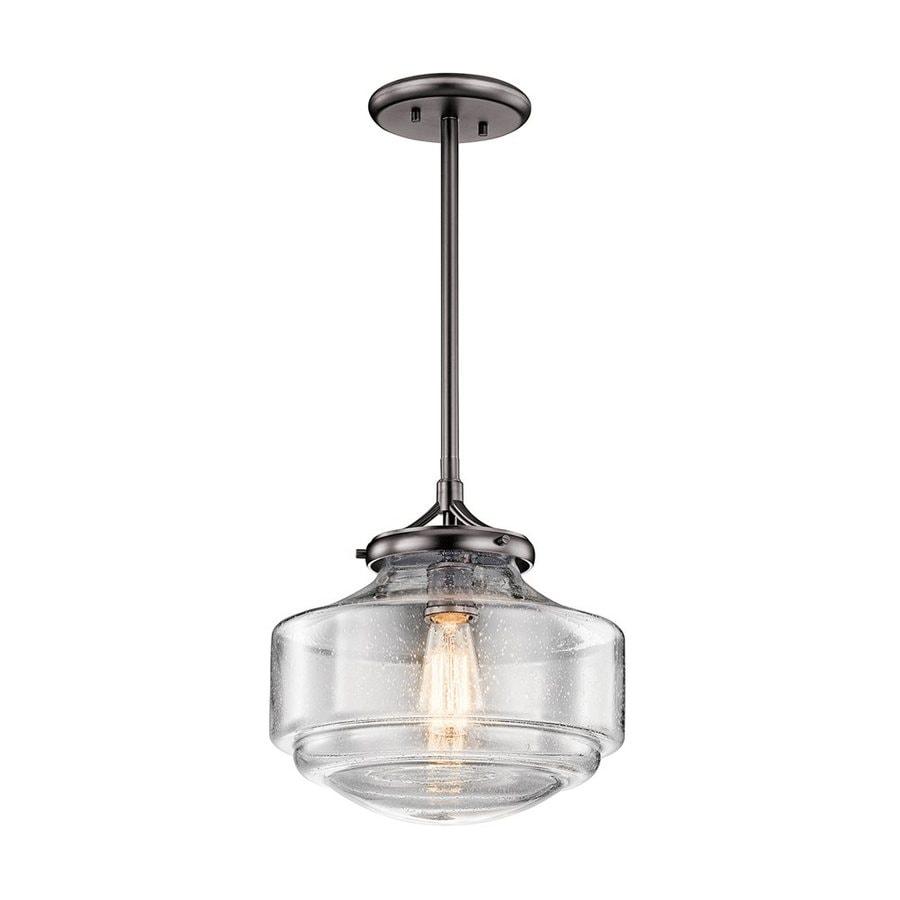 Kichler Lighting Keller 12-in Shadow Nickel Vintage Hardwired Single Seeded Glass Schoolhouse Pendant