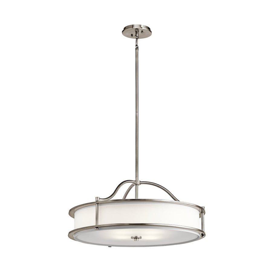 Kichler Lighting Emory 18-in Classic Pewter Hardwired Single Etched Glass Drum Pendant