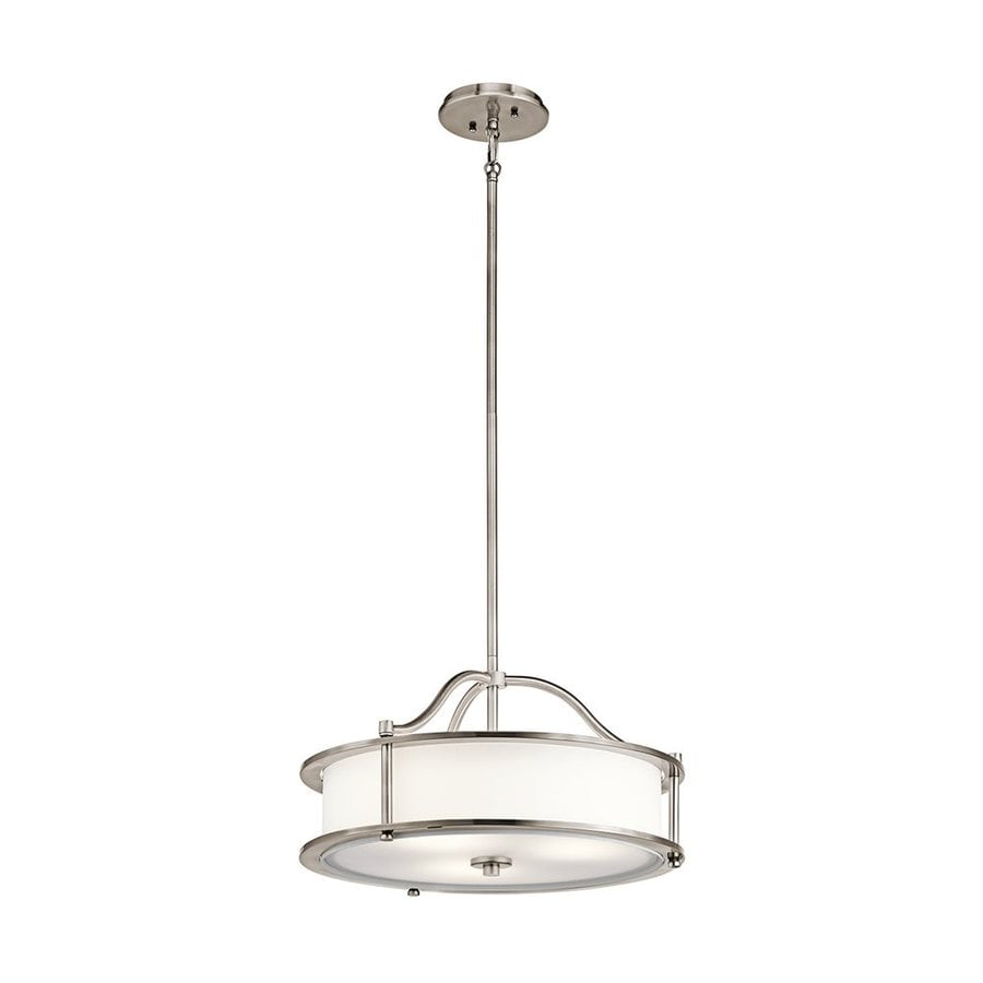 Kichler Lighting Emory 24-in Classic Pewter Hardwired Single Etched Glass Drum Pendant