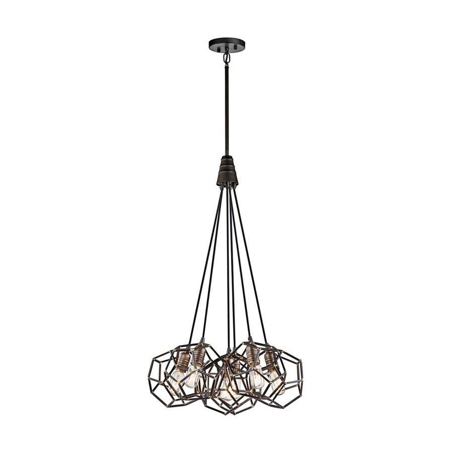 Kichler Lighting Rocklyn 22.75-in Raw Steel Industrial Hardwired Multi-Light Geometric Pendant