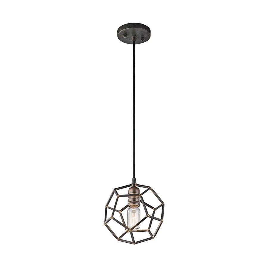 Kichler Rocklyn 8-in Raw Steel Industrial Hardwired Mini Cage Pendant