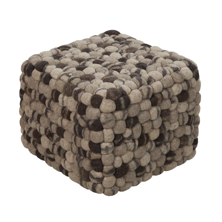 shop surya summit beige wool pouf ottoman at. Black Bedroom Furniture Sets. Home Design Ideas