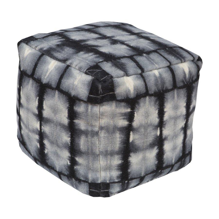 Surya Tie-Dye Black/Gray Pouf Ottoman