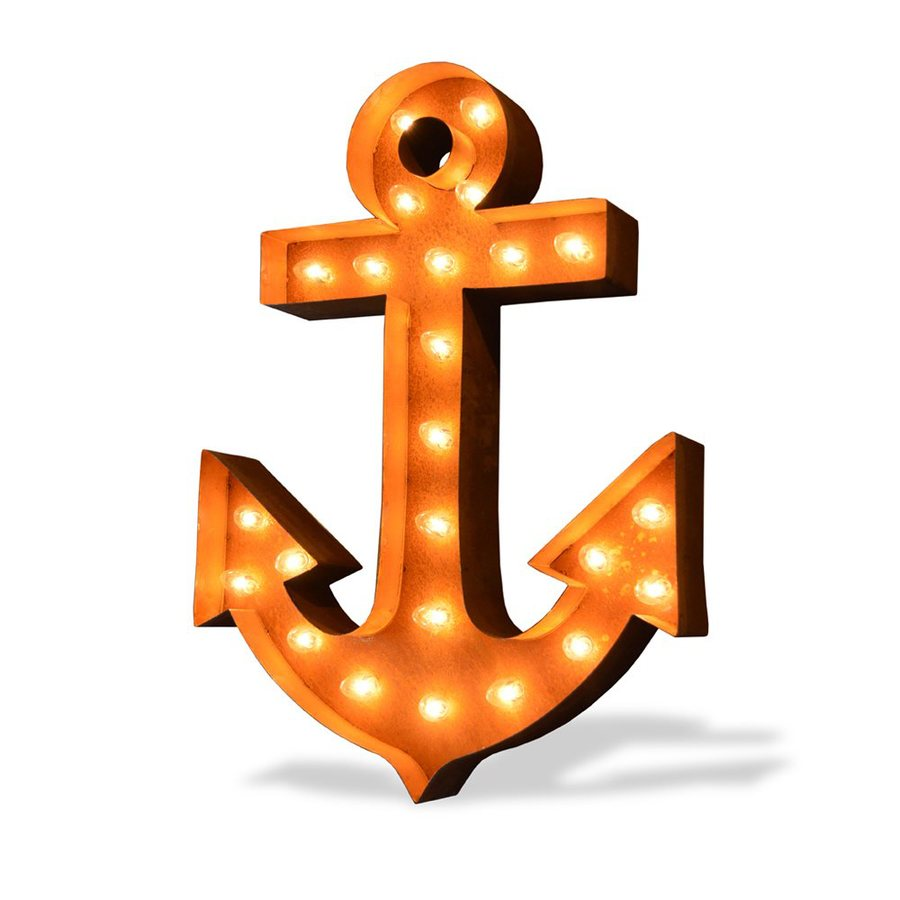 ICONICS 21-in W x 30-in H Frameless Metal Anchor Icon Marquee Light 3D Wall Art