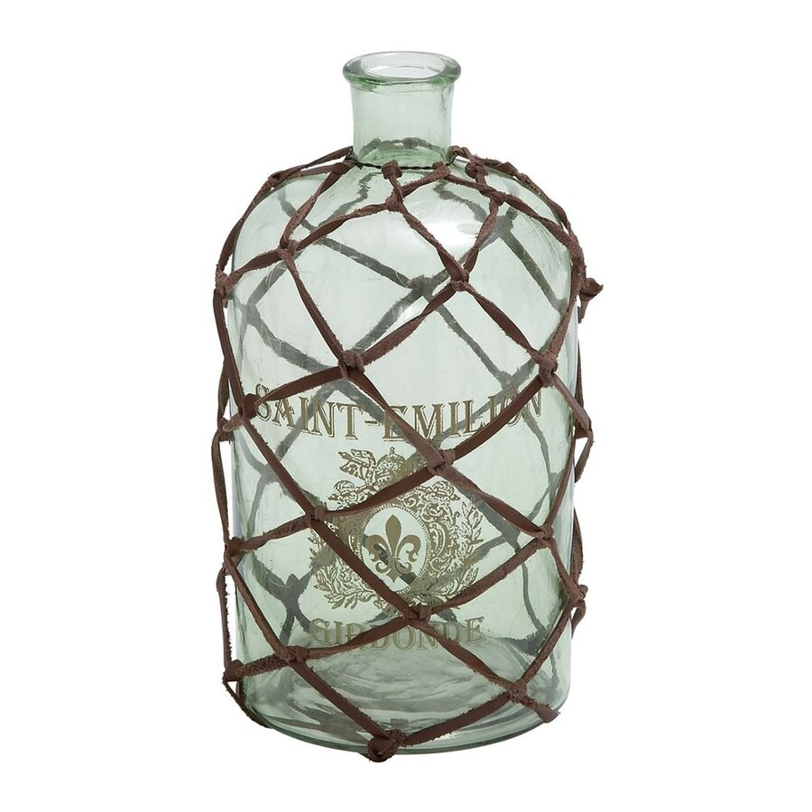 Woodland Imports Glass Vase with Strands Of Netted Leather