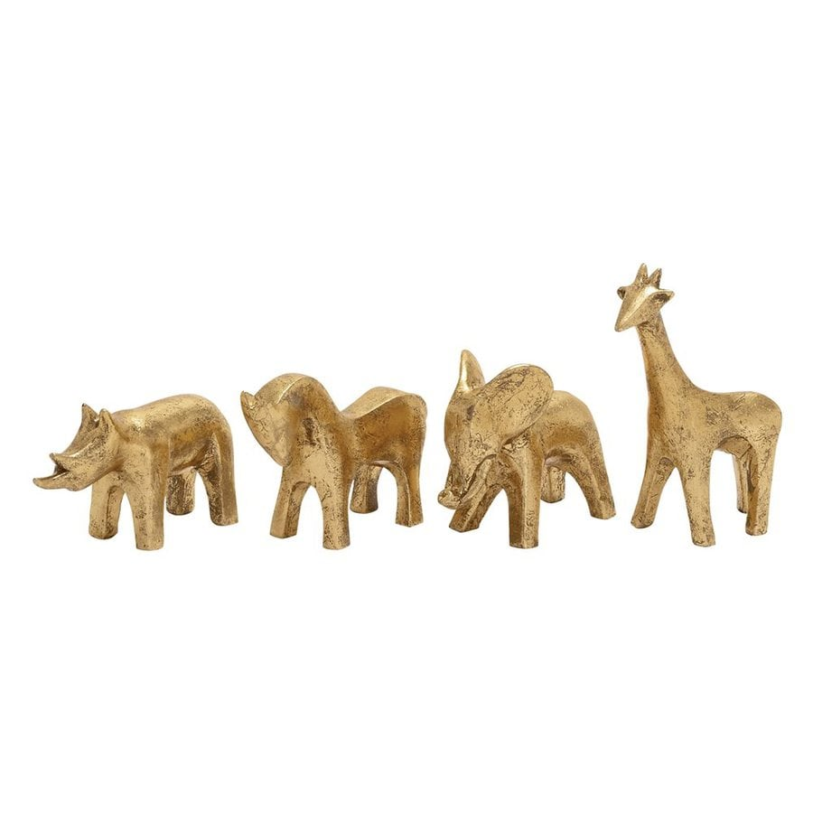 Woodland Imports Set of 4 Polystone Animal Statues